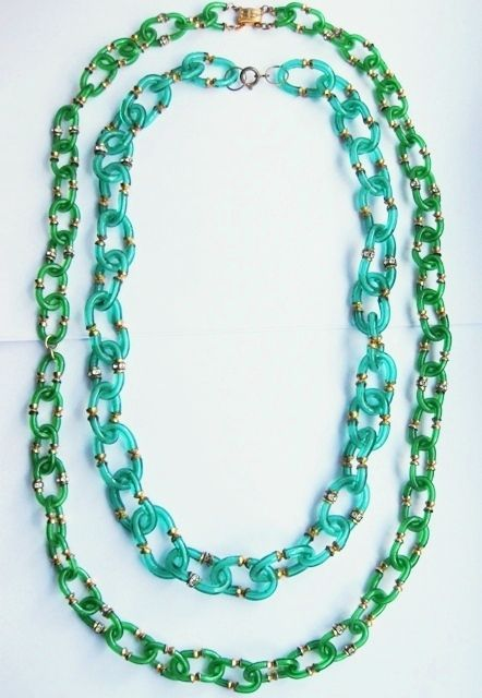 Archimede Seguso for CHANEL 1960's Green Glass Modernist Necklaces