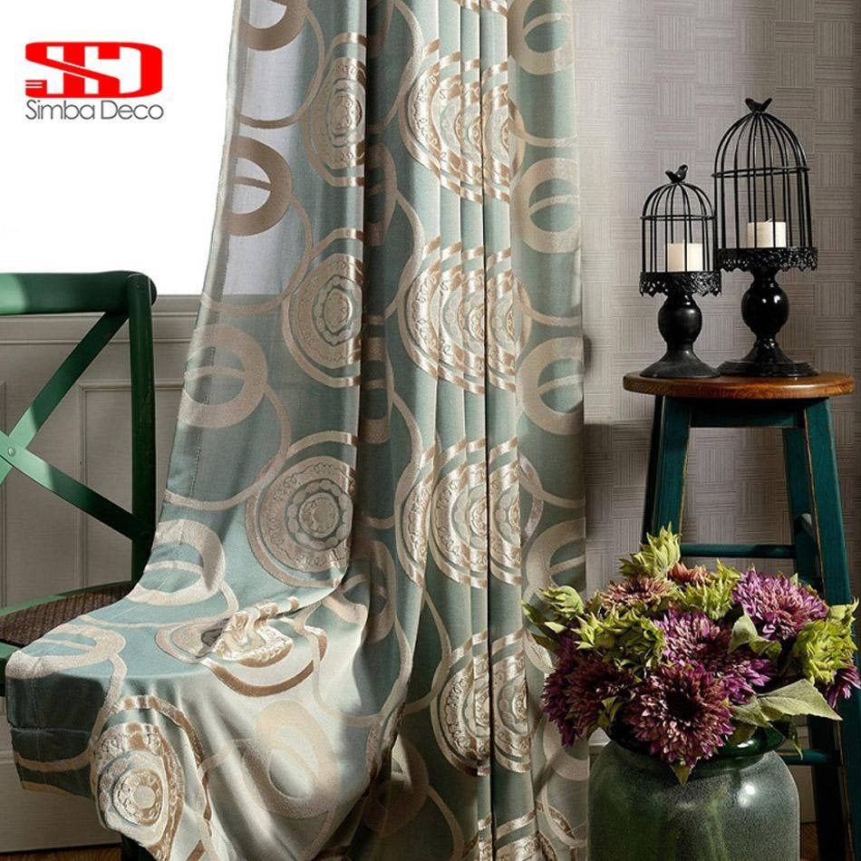 Luxury Velvet Curtains For Living Room Chinese Jacquard Green Fair Luxury Curtains For Living Room 2018
