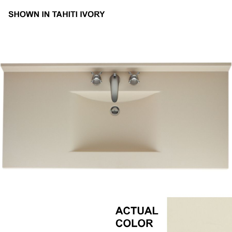 Beautiful Shop Swanstone Contour Gray Granite Solid Surface Integral Single Sink Bathroom  Vanity Top (Common: X Actual Gallery