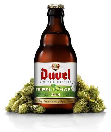 Cerveja Duvel Tripel Hop 2014 (Mosaic), estilo Belgian Golden Strong Ale, produzida por Brouwerij Moortgat, Bélgica. 9.5% ABV de álcool.