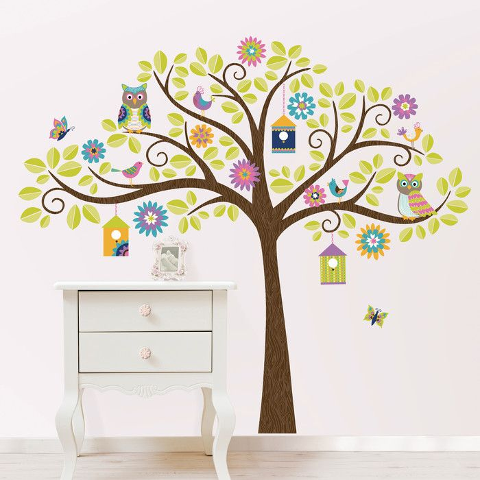 you ll love the hoot and hang out tree baby wall stickers at wayfair
