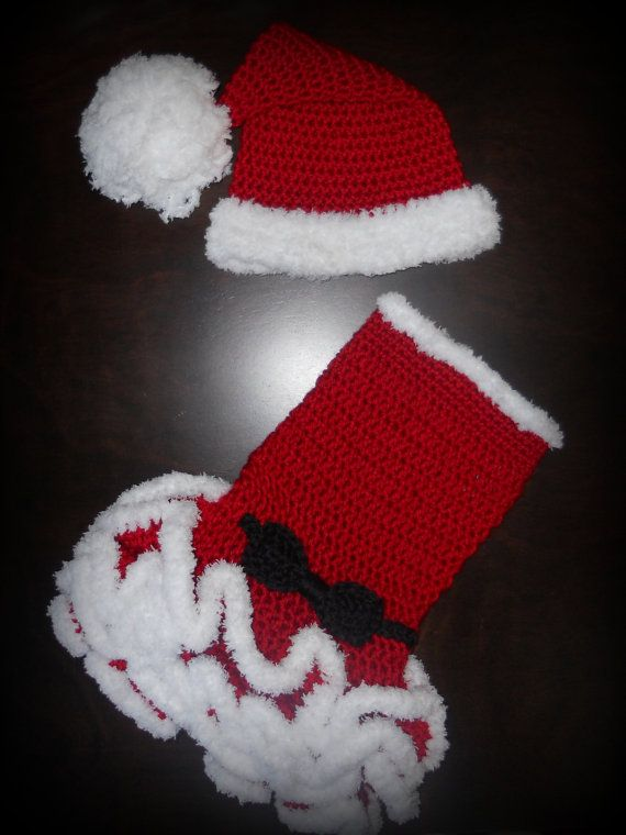 488d150239e Christmas Crochet Santa or Mrs. Claus Tutu Dress   Matching Hat Baby  Handmade Photo Prop