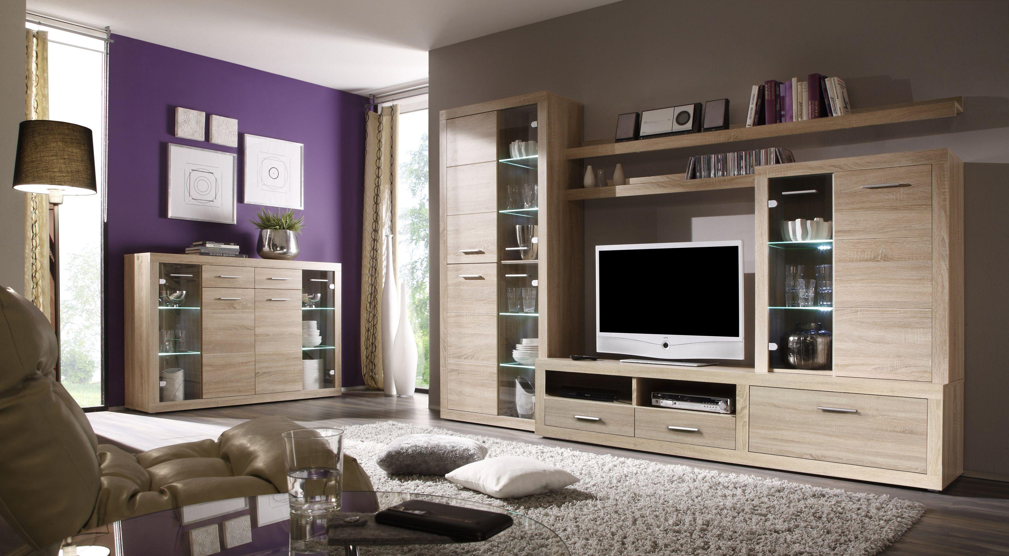 Wohnwand Mit Highboard Sonoma Eiche Woody 61 00066 Holz Modern Jetzt  Bestellen Unter: Https