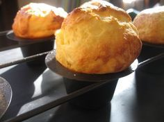 Popovers! A wonderful easy comfort food. Light and crispy on the outside, custardy on the inside. Perfect with butter and jam.