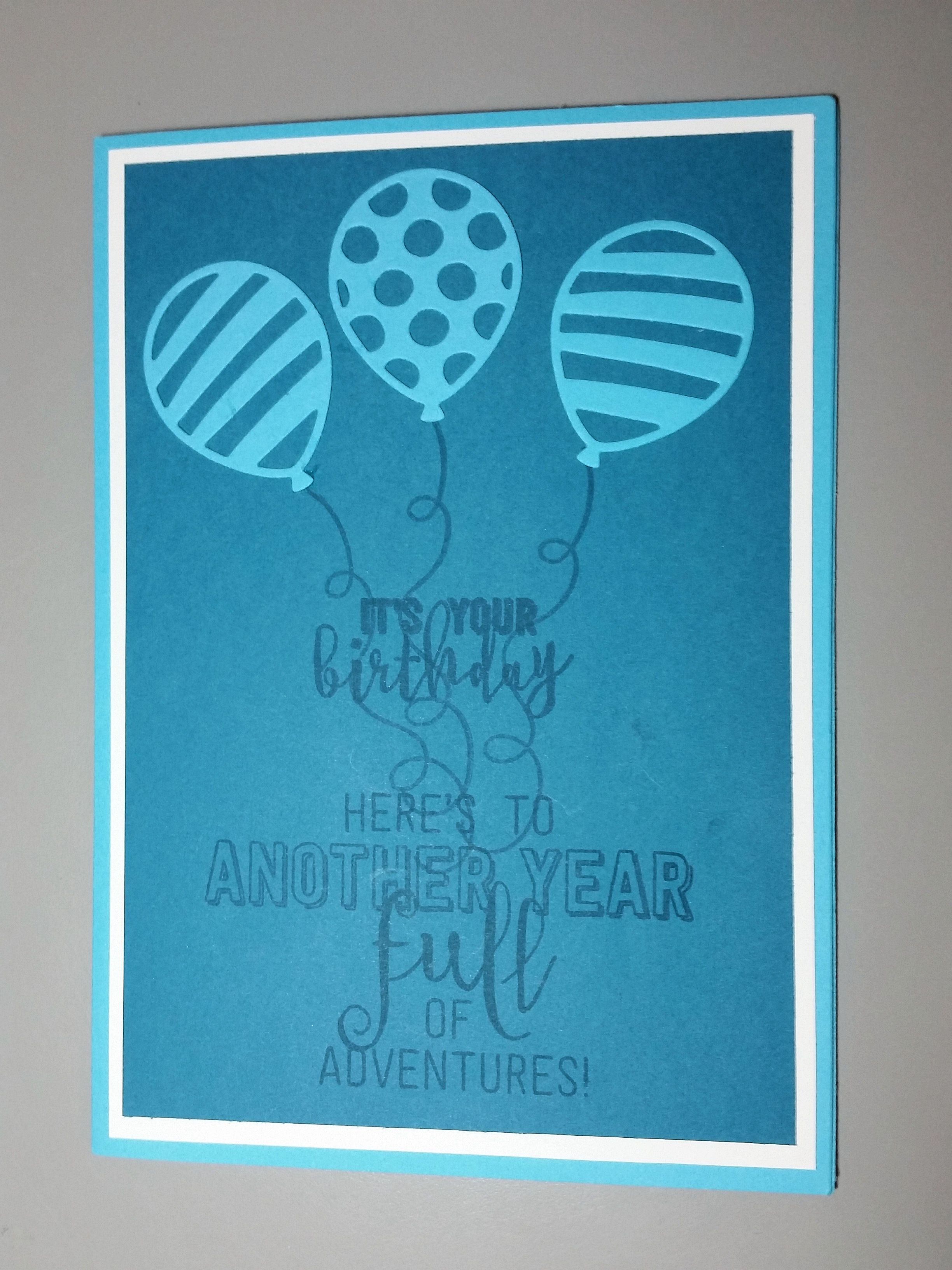Balloon Adventures Birthday Card using Stampin Up Punches and Dies.