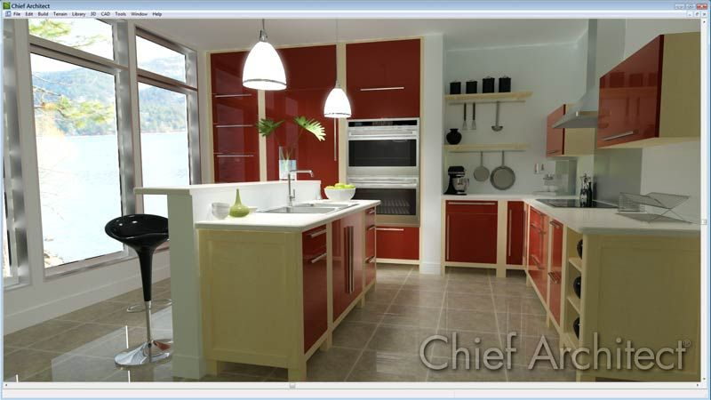 Sleek Modern Kitchen Designed With Chief Architect Software With