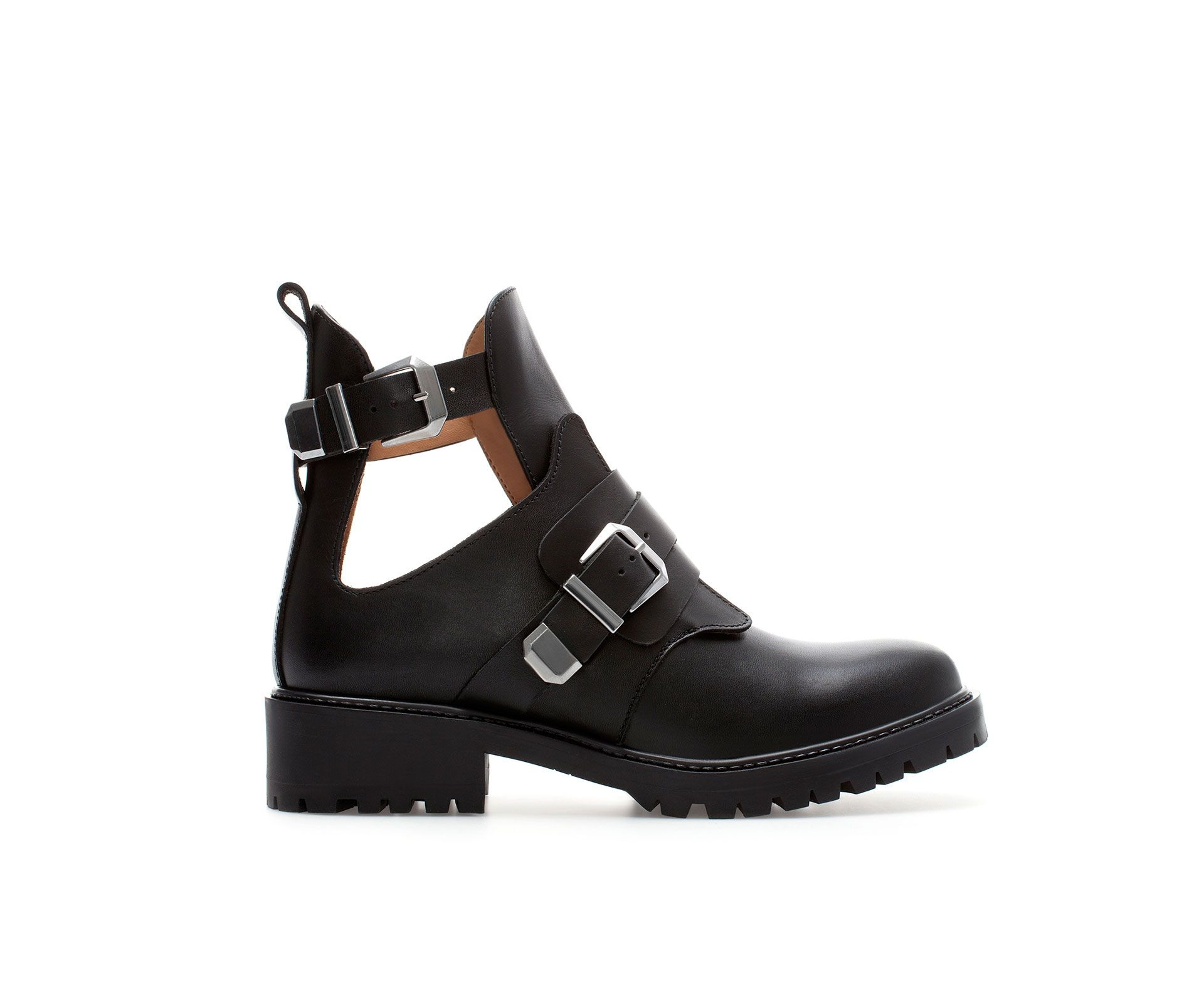 OPEN LEATHER ANKLE BOOT WITH BUCKLES - Shoes - TRF | ZARA Czech Republic