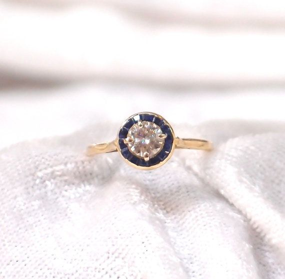 Vintage Art Deco Diamond and Sapphire Ring in 14k by hotvintage, $1250.00