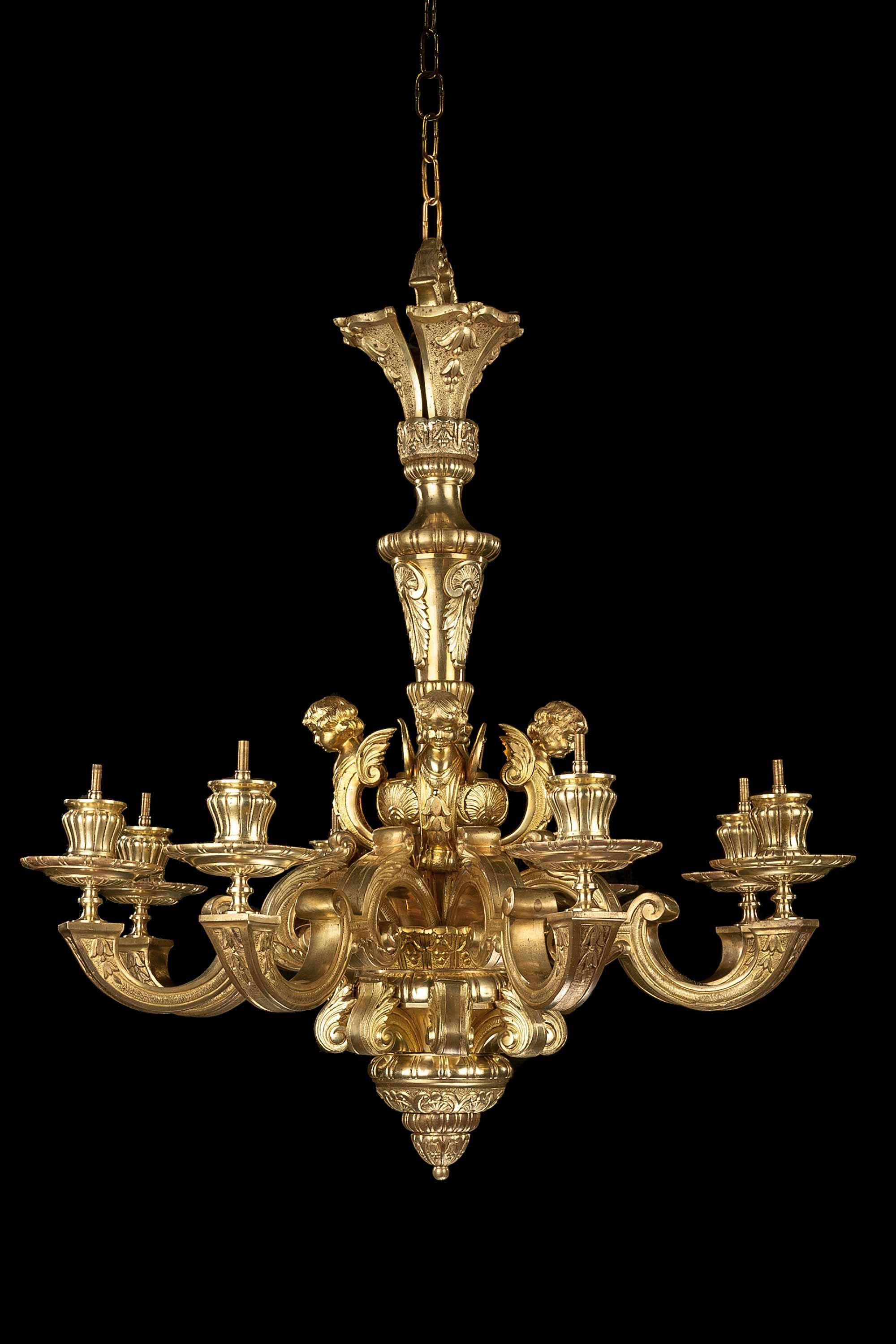 Late 19th Century Gilt Bronze Chandelier in 2020 Bronze