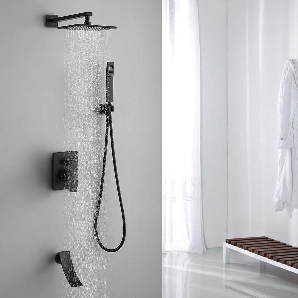 Duschsystem Unterputz Eckig in Schwarz (mit Bildern