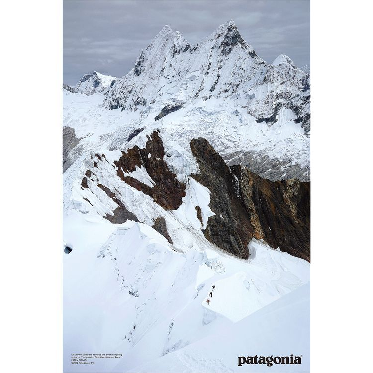 Unknown climbers traverse the ever-morphing spine of Yanapaccha. Cordillera Blanca, Peru. Photographer: Emily Polar. Patagonia poster.