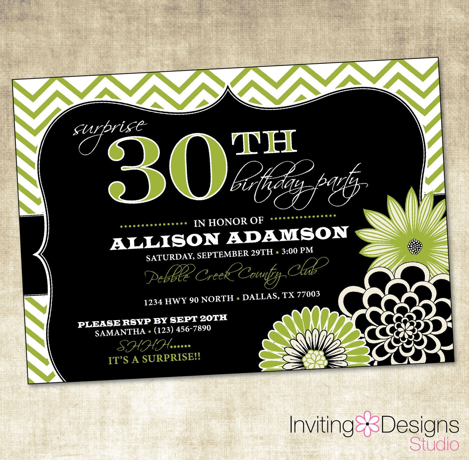 Birthday Party Invitation th th th th th Green