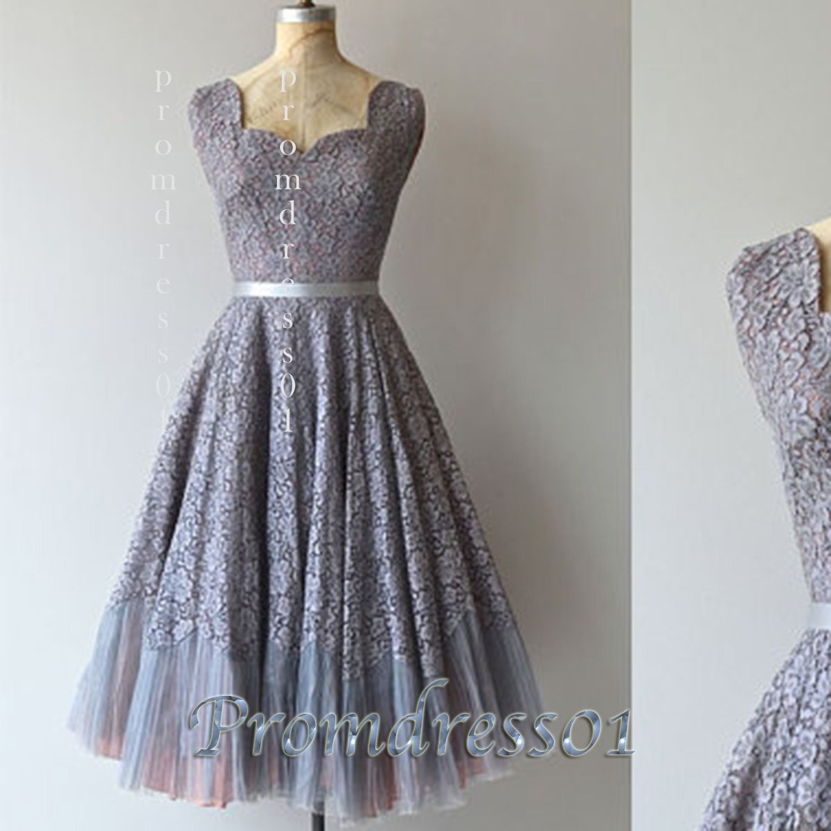Vintage grey lace tea length cocktail prom dress for Silver tea length wedding dresses