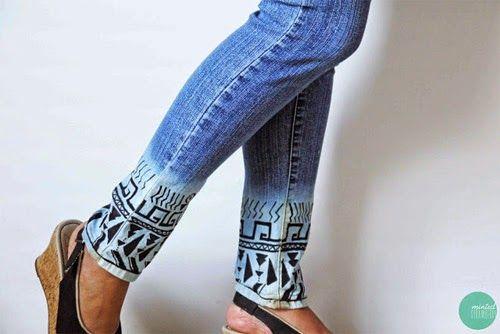 Resultado de imagem para barra de calça pintada com caneta de tecido