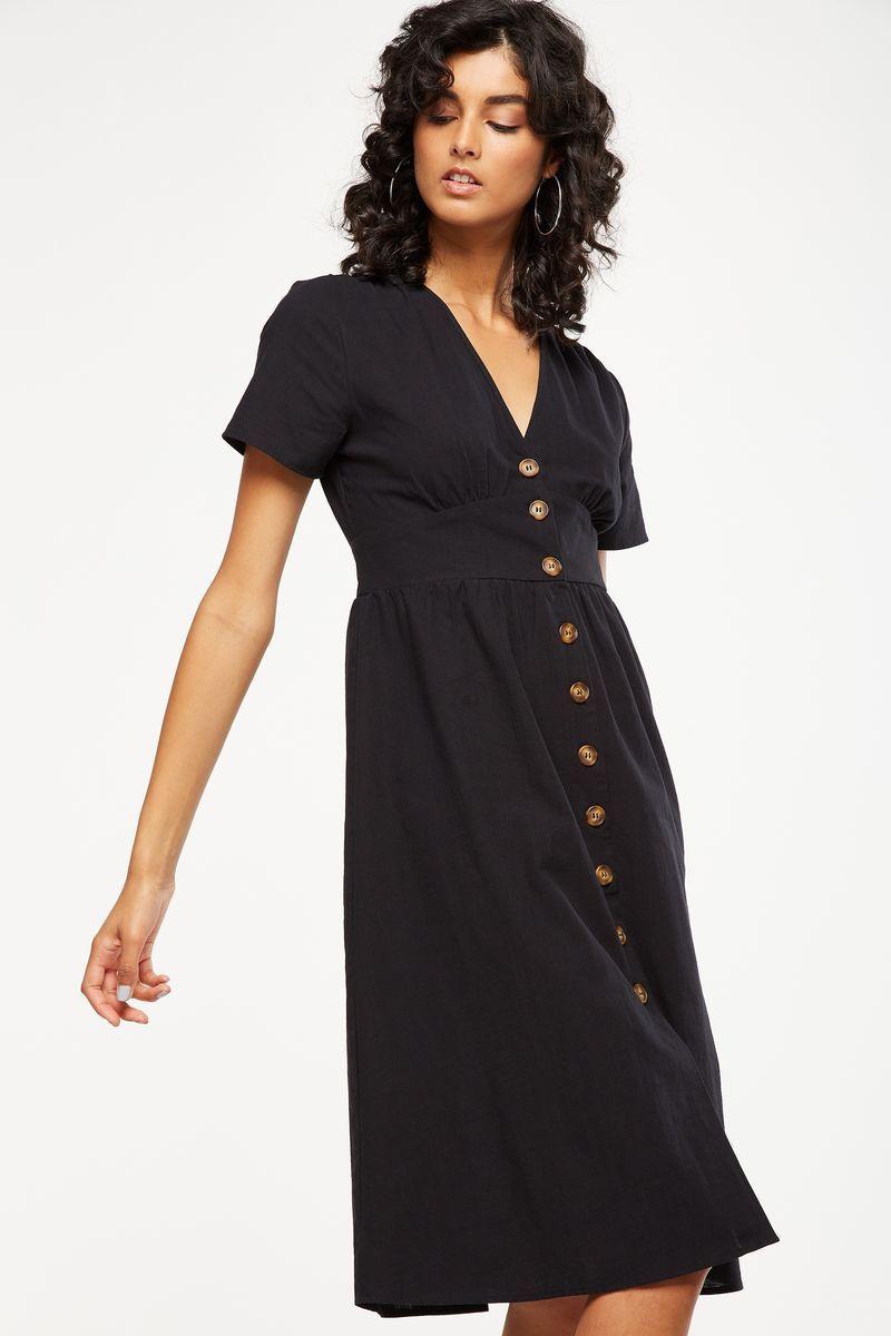 limited guantity quality high quality Woven Gigi Button Through Midi Dress, BLACK | Midi dress bodycon ...