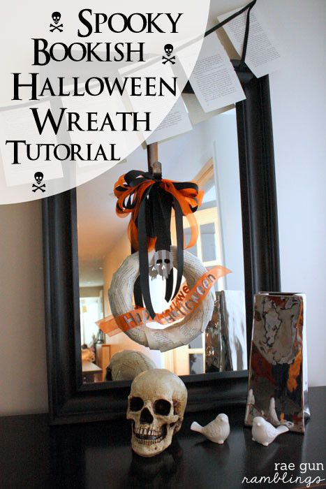 Spooky Bookish Halloween Wreath Tutorial Easy halloween, Guns and - halloween crafts decorations