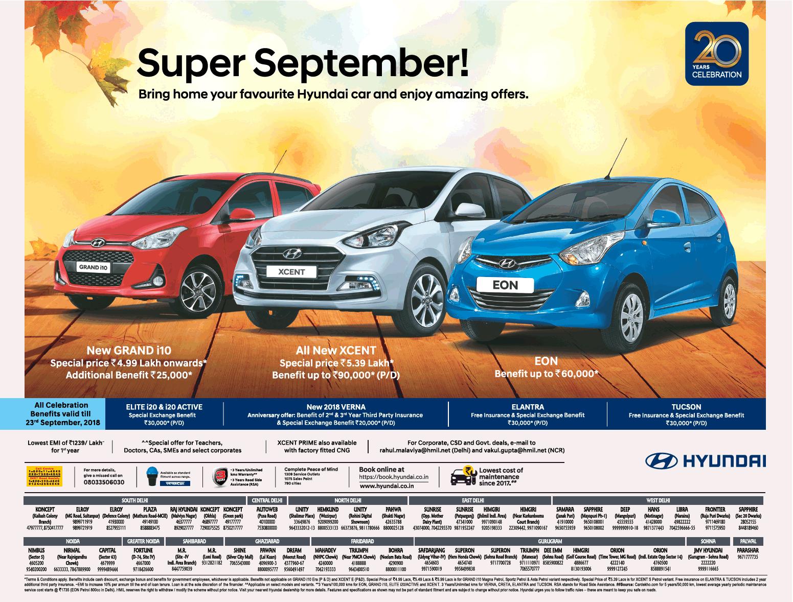 Hyundai Super September 20 Year Celebration Ad Delhi Times Check
