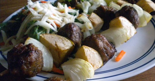 Meatball Shish Kabobs-This fast and kid-approved dinner is an easy fix on a busy night from WellnessMama.com #recipes #wellnesmama #kabobs