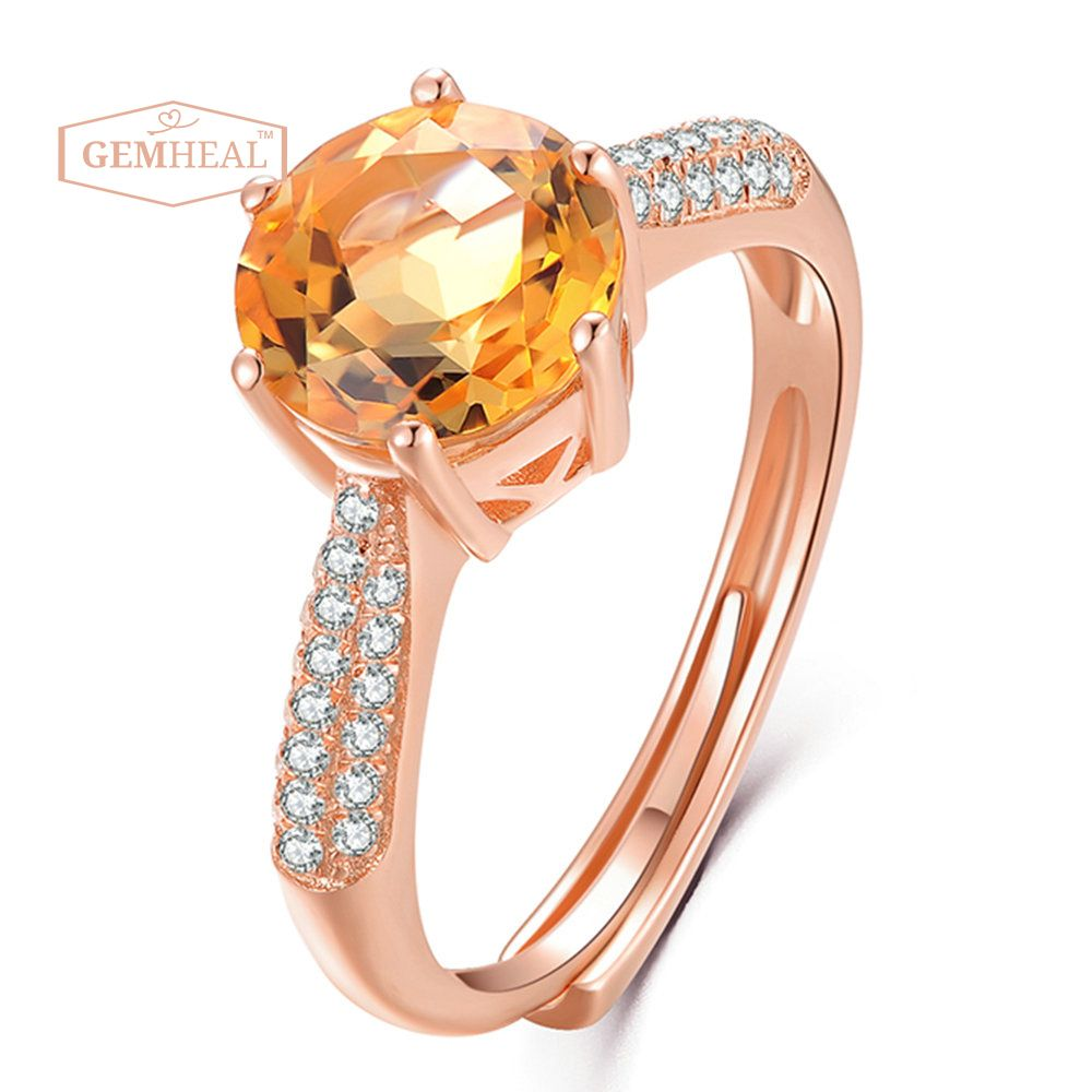 925 sterling silver rose gold plated natural citrine sun ring