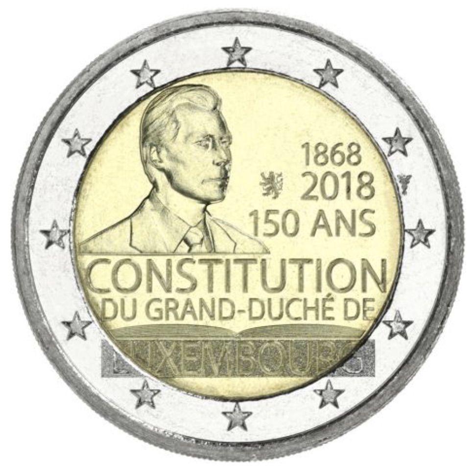 2 Euros Commemorative 2018 Le 150e Anniversaire De La Constitution Luxembourgeoise Numismatique Piece De Monnaie Ancienne Monnaie Ancienne