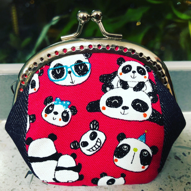 Coin purse kiss lock purse japanese fabric panda with blue