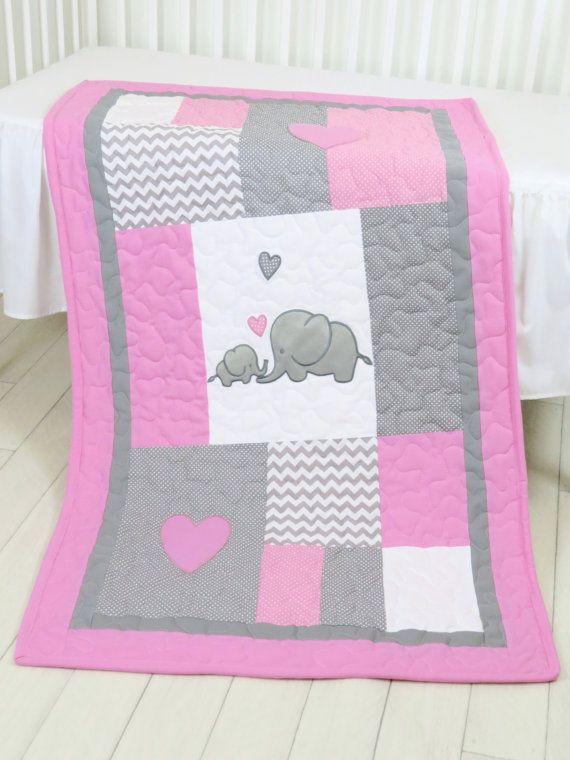 Elephant Baby Blanket Elephant Quilt Blanket Pink Gray
