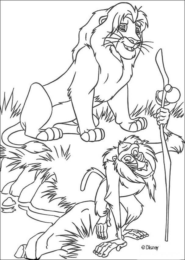 Simba with Rafiki coloring page | Leeuwenkoning | Pinterest | El rey ...