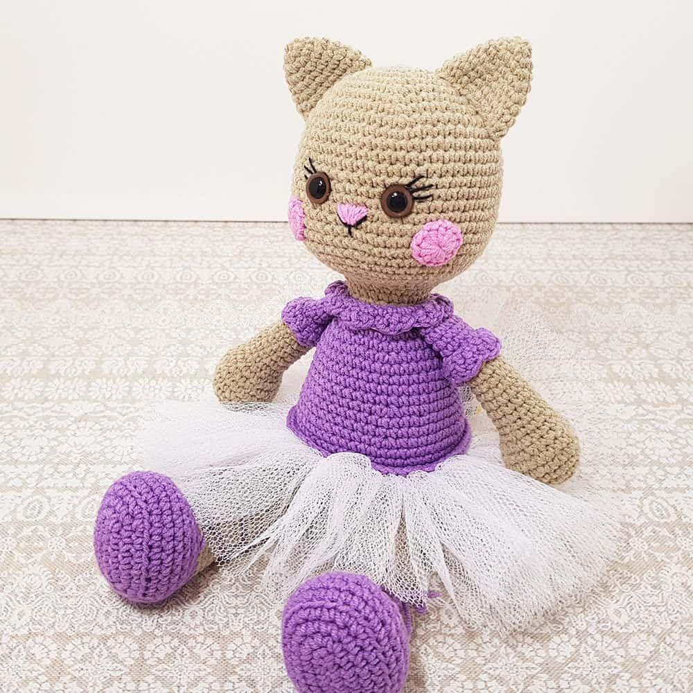Ballerina cat doll crochet pattern - Knuffels, Handwerk en Kat