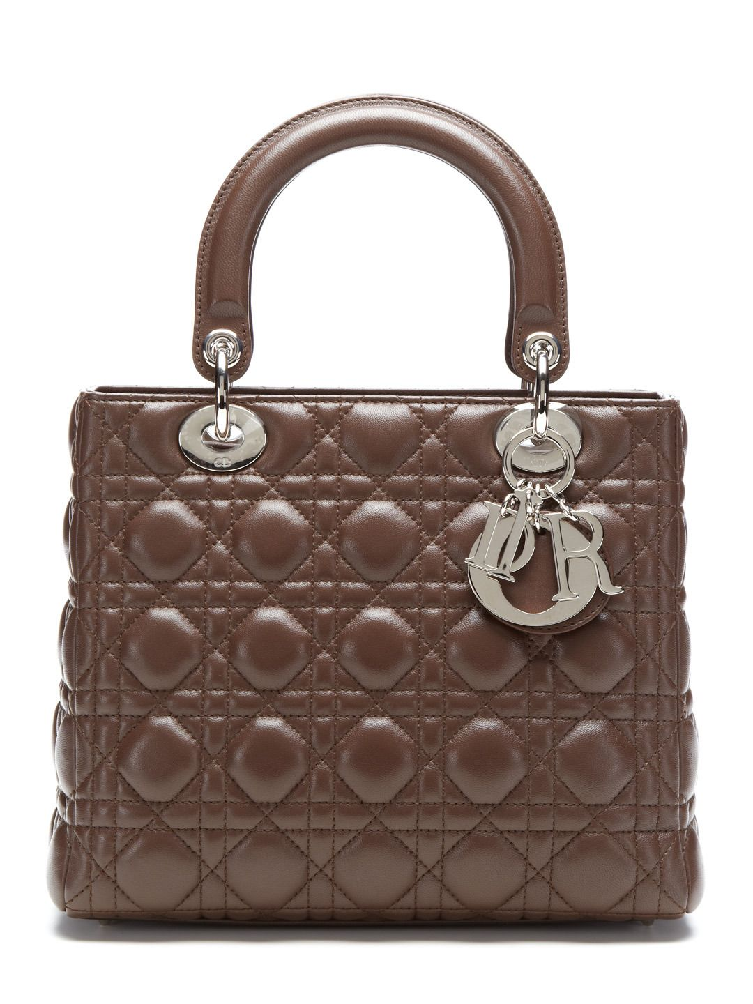 Brown cannage quilted lambskin medium lady dior bag by