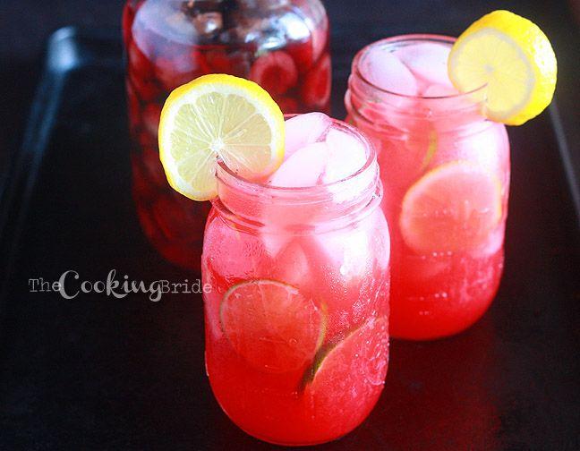Cherry Berry Vodka Lemonade: cherry vodka, lime juice, pink lemonade, strawberry puree