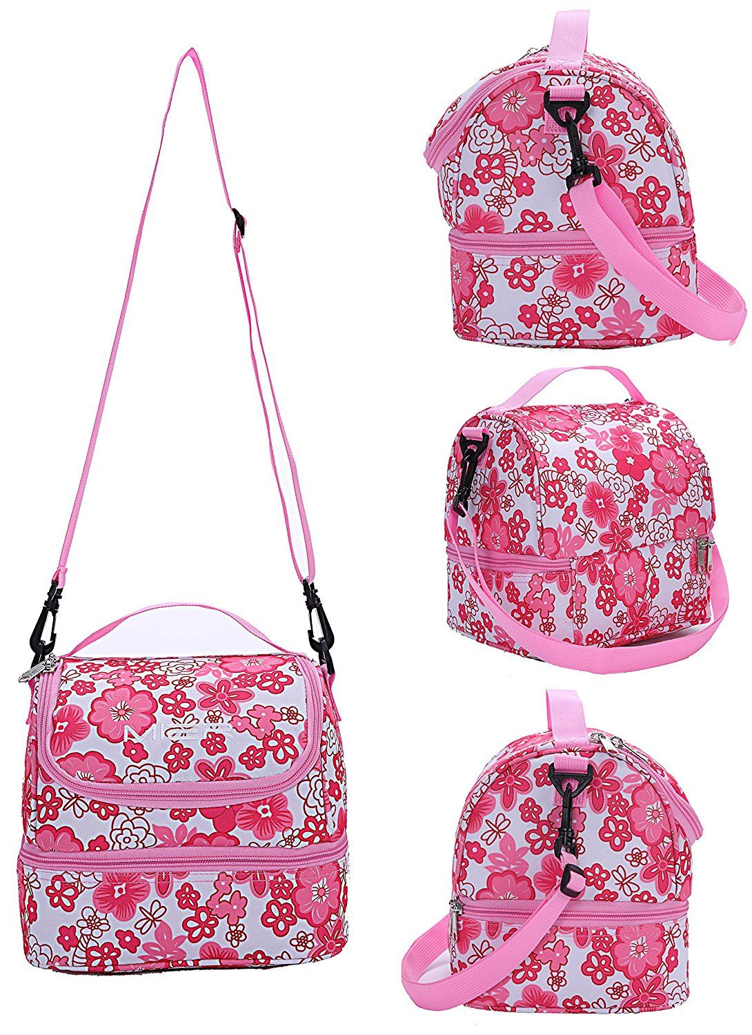 Mier Double Decker Insulated Lunch Box Pink Soft Cooler Bag Thermal Lunch Tote With Shoulder Strap Pink Star Http Bags Soft Cooler Bag Insulated Lunch Tote