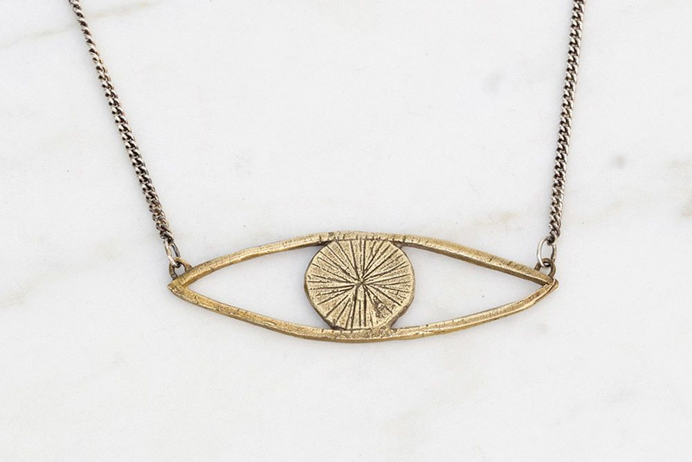Datter Industries - Eye talisman necklace - brass on silver