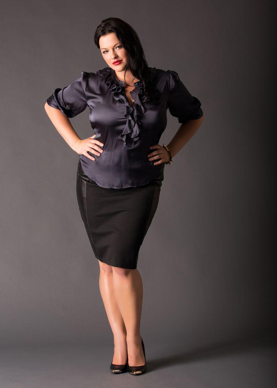 457f99d9db86a Black plus size satin blouse