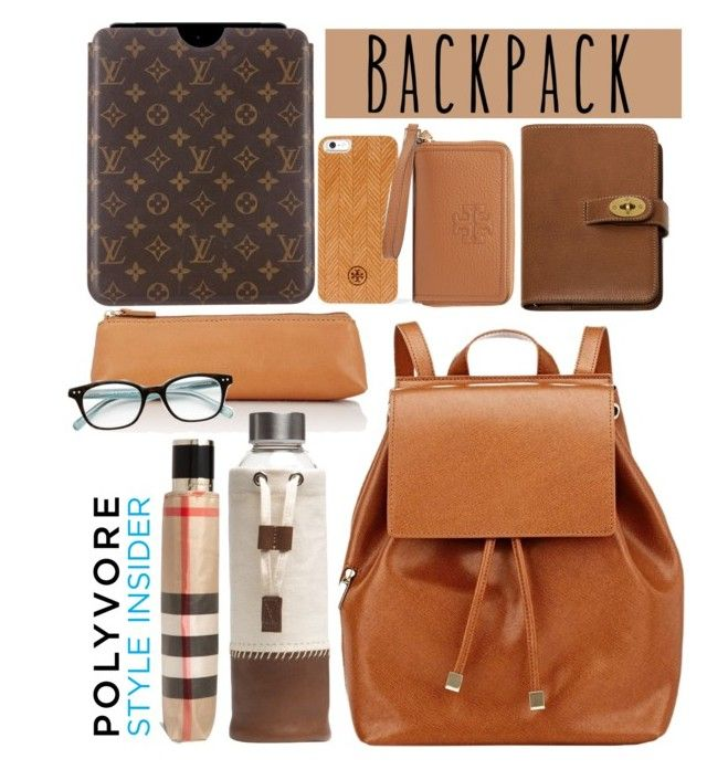 """Backpack"" by cinnamonbelle ❤ liked on Polyvore featuring Barneys New York, Mulberry, Native Union, Louis Vuitton, Tory Burch, Burberry, Kate Spade, backpacks, contestentry and PVStyleInsiderContest"
