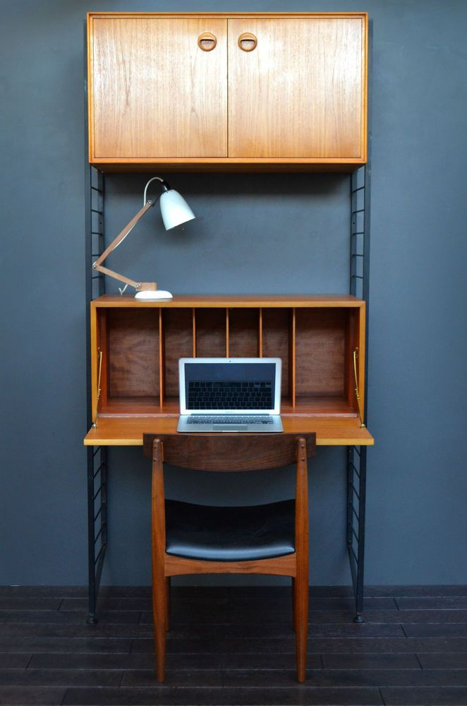 Pleasing Vintage Mid Century Teak Ladderax Bookshelf Desk Modular Download Free Architecture Designs Scobabritishbridgeorg