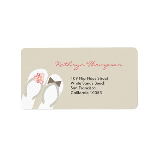 e7c8f58b360c99 Mr   Mrs Flip Flops Beach Wedding Address Labels