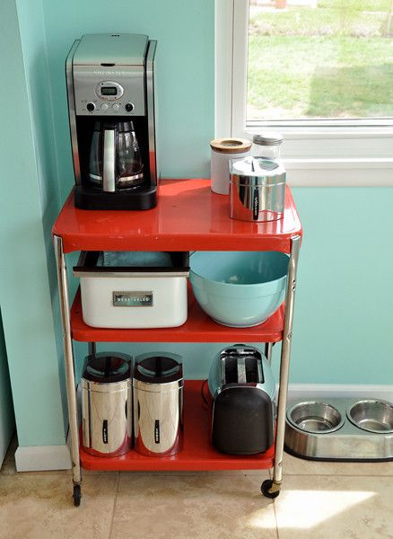 Cheery Turquoise and Red Kitchen images