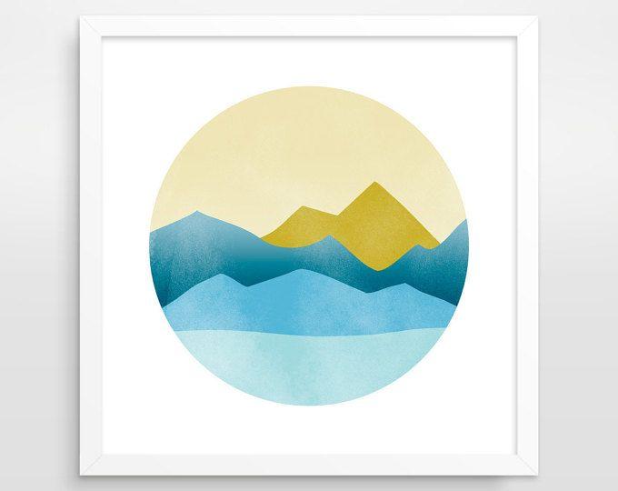 Geometrische Berg Kunstdruck Mitte Jahrhundert Moderne, Abstrakte  Landschaft, Kreis Wandkunst, Minimalistische Poster, Skandinavischen Print,  PNW Kunst
