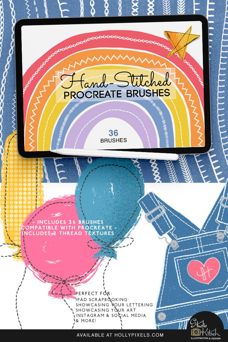 Hand Stitched Procreate Brushes By Studio Kitsch Hand Stitching