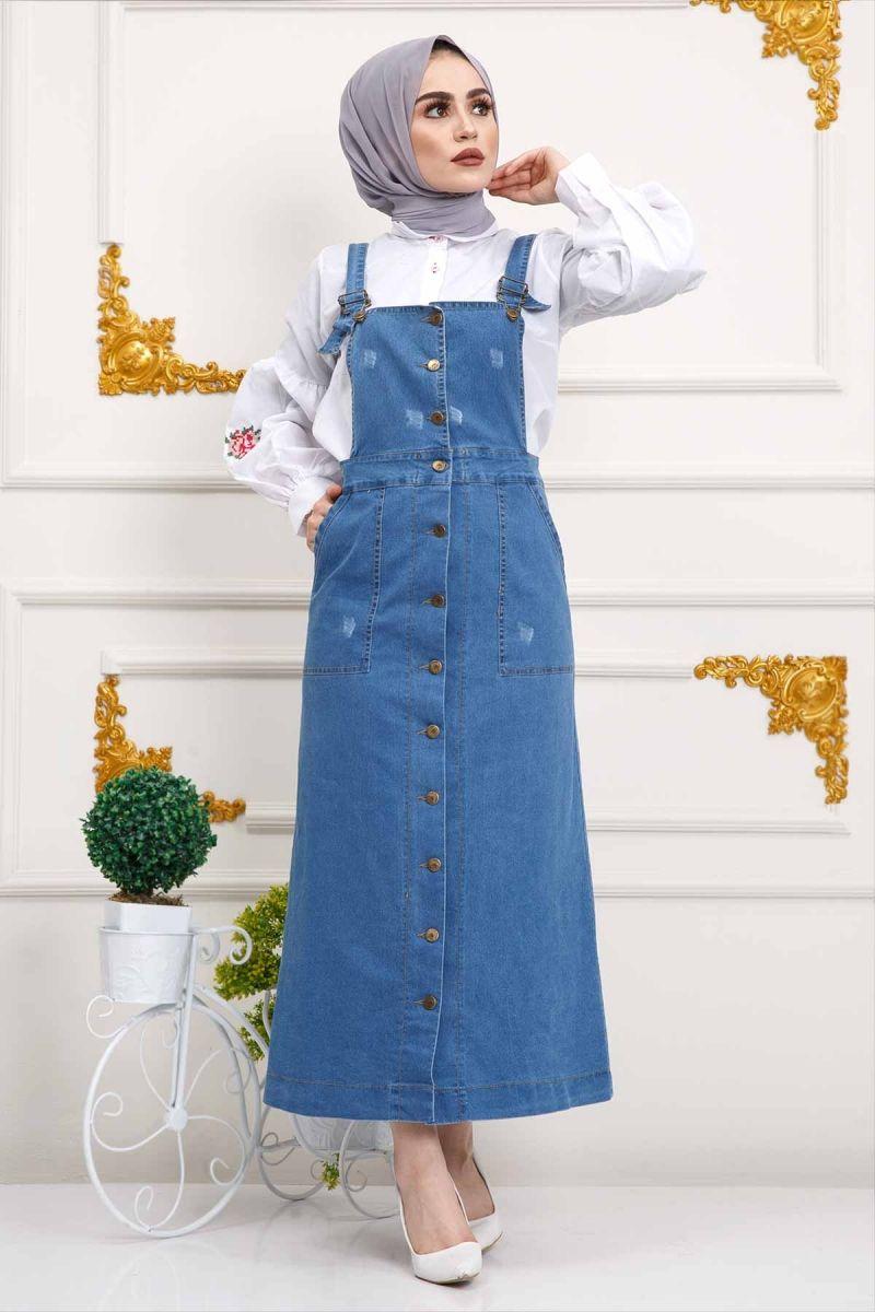Renkli Kot Salopet Elbise Tsd515 Kot Mavisi Elbise Modelleri Islami Giyim Kot Elbiseler