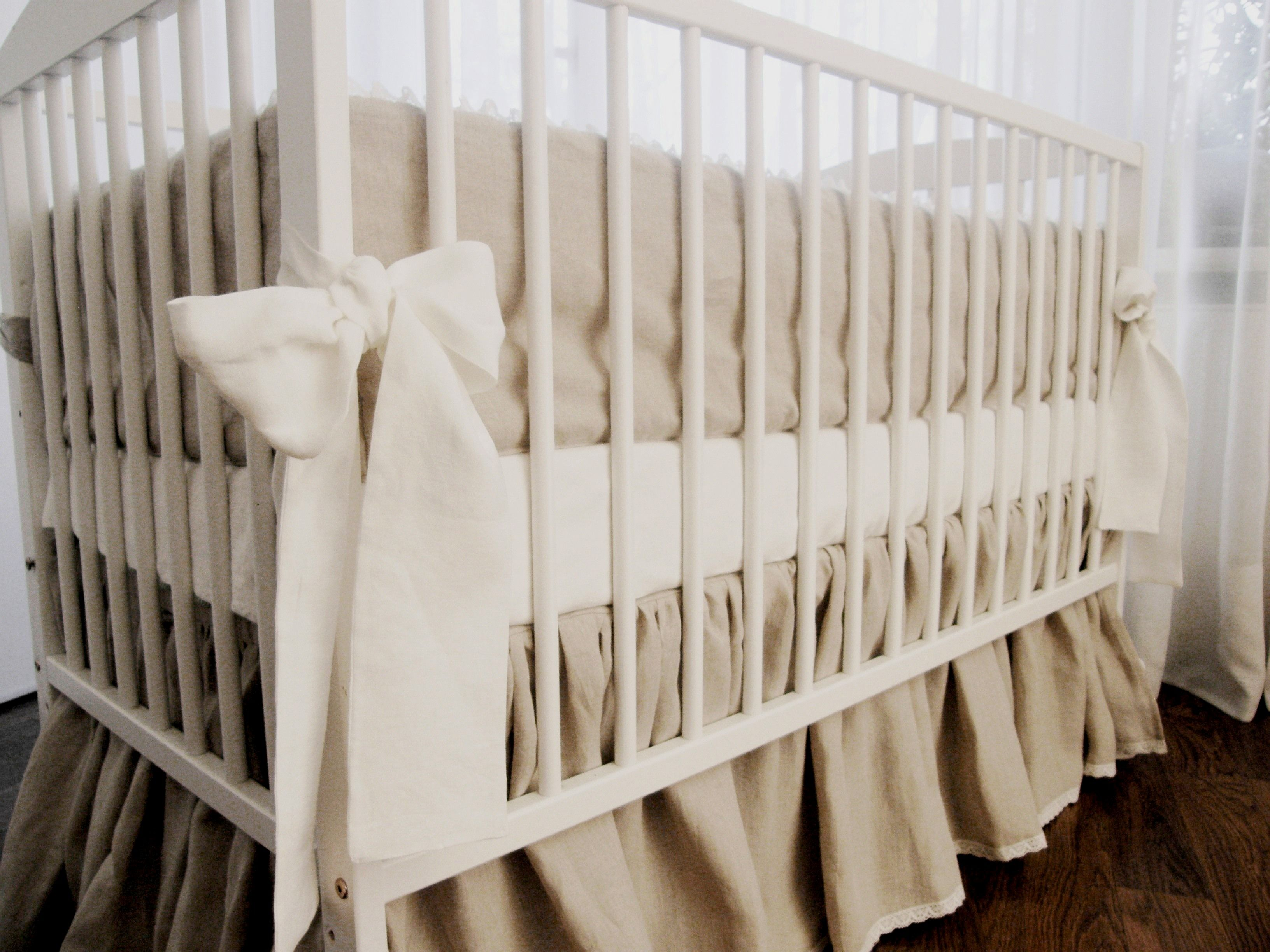 Crib Bedding Crib Skirt And Bumper Pure Linen Linen Crib