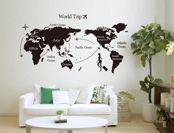 Large world map wall decal vinyl world trip decal journey for living large world map wall decal vinyl world trip decal journey for living room decor t355 gumiabroncs Gallery