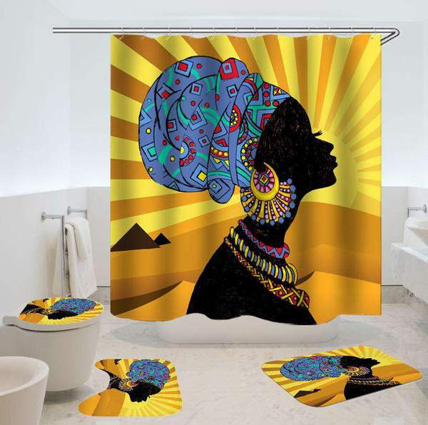 Contrast Color Indian Afro Girl Print Waterproof Shower Curtain B