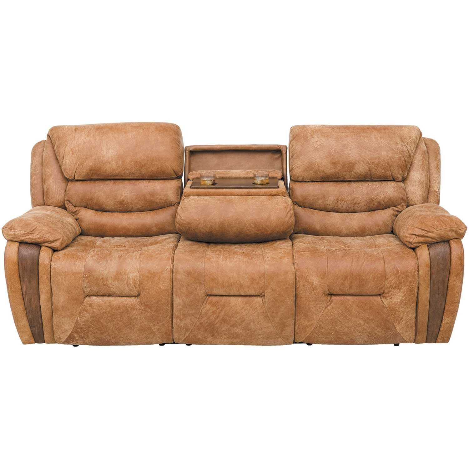 Wayne Leather Power Reclining Sofa with Drop Down Table 1E