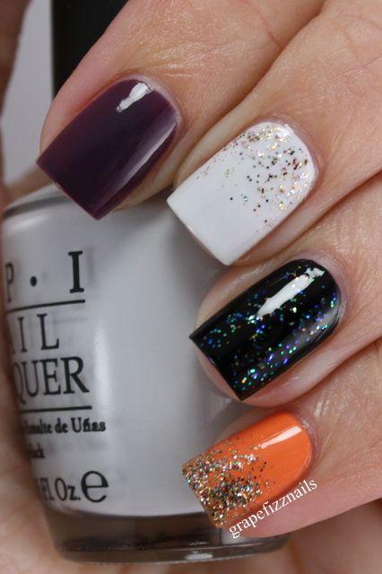 schwarz, weiß und orange #nails #Promplace   – ♥PROM♥