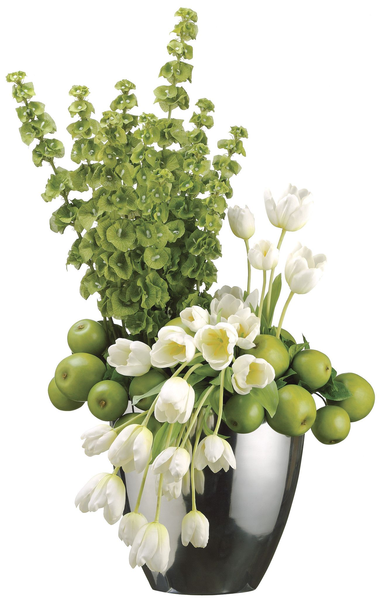 Tulip, Apple and Bells of Ireland Arrangement in Oval Vase, White and Green, Home Office Decor