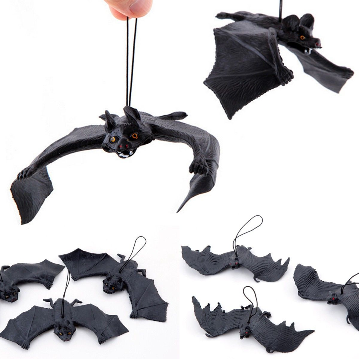 Rubber Simulation Bat Animal Halloween Toy Hanging Pendant Party Decor Props