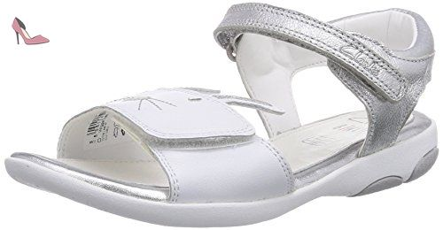 Clarks Wiggletoes, Sandales fille - Blanc (White), 25 EU (7.5 UK) - Chaussures clarks kids (*Partner-Link)