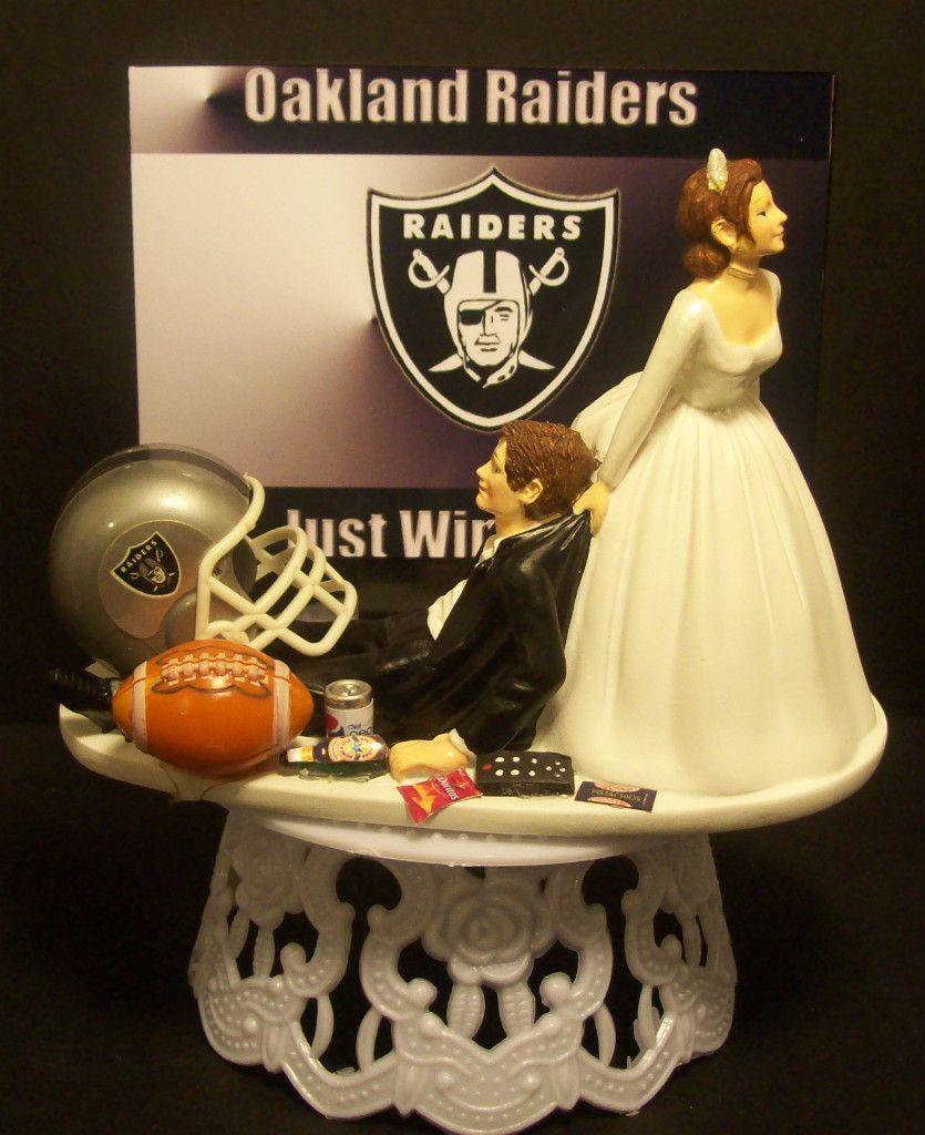 Oakland Raiders Football Wedding Cake Topper Sports Funny Just Win Baby Football Wedding Cake Football Wedding Cake Toppers Football Wedding