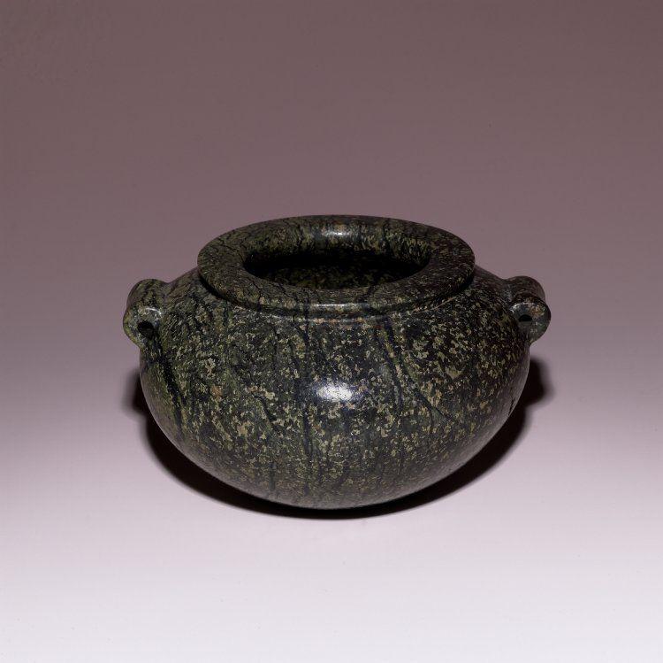 Squat serpentinite jar: with two tubular handles. Culture/periodPredynastic